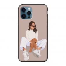 Силиконовый чехол Softmag Case Girl width white dog для iPhone 12 Pro Max