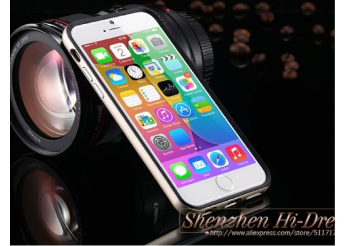 Позолоченный бампер с черными накладками для iPhone 6/6S