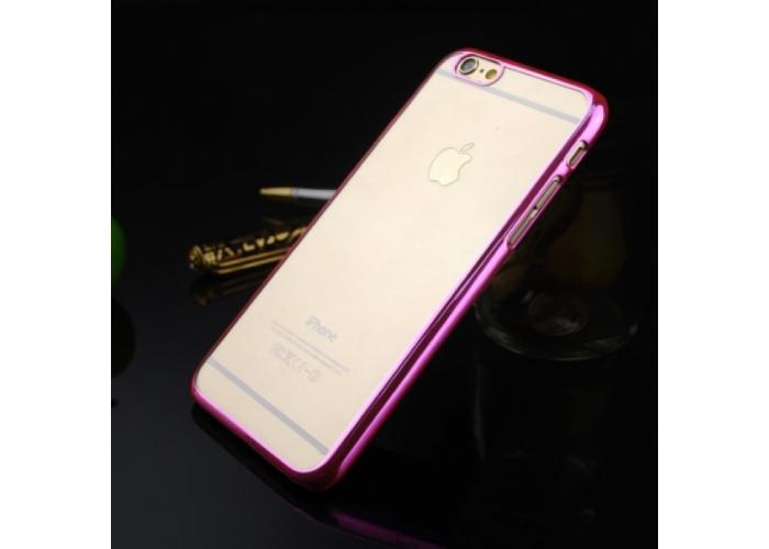 Прозрачный пластиковый чехол с алюминиевым бампером для iPhone 6/6S (розовый)