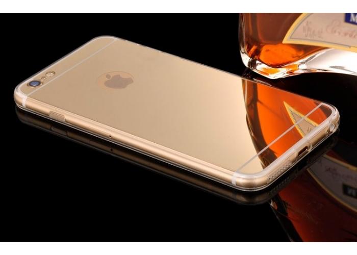 Силиконовый чехол с зеркальной накладкой для iPhone 5/5S (позолоченный)