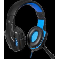Игровая гарнитура Defender Warhead G-390 LED черный+синий, кабель 1,8 м