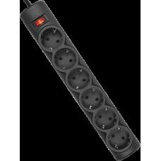 Сетевой фильтр Defender DFS 155 5 м, черный, 6 розеток