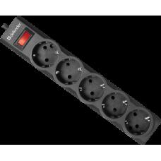 Сетевой фильтр Defender ES largo 1.8 черный, 1,8 м, 5 розеток