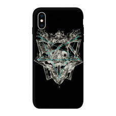 Силиконовый чехол Softmag Case Череп и птица для iPhone Xs Max