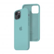 Силиконовый чехол c закрытым низом Apple Silicone Case для iPhone 13 Sea Blue
