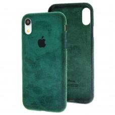 Чехол для iPhone Xr Alcantara 360 темно-зеленый
