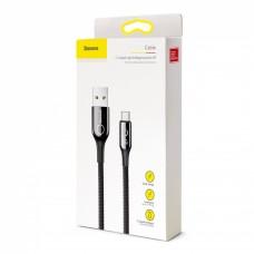 Кабель USB Baseus C-Shaped Light Intelligent Power-Off Type-C QC3.0 3A 1m черный