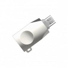 Переходник OTG Hoco UA10 USB to MicroUSB серебристый