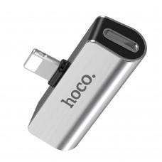 Переходник Hoco LS25 Lightning to 3.5mm серебристый