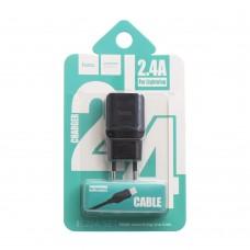Сетевое зарядное устройство Hoco C22A 2.4A lightning USB 2in1 черный