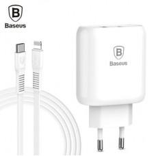 Сетевое зарядное устройство Baseus Bojure MacBook QC3.0 3A 32W Type-C to lightn белый