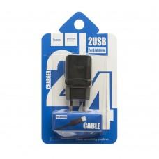 Сетевое зарядное устройство Hoco C33A 2.4A lightning 2USB 2in1 черный