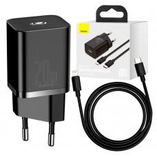 Сетевое зарядное устройство Baseus Super Si Quick 1C 20W Type-C to lightning 1m черны
