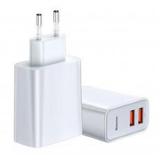 Сетевой адаптер Baseus Speed Mini Dual-U 2USB 2A 10.5W белый