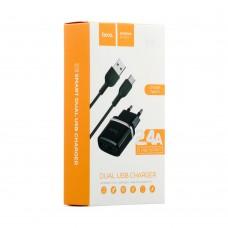 Сетевое зарядное устройство Hoco C12 2USB 2.4A Type С 2in1 черный