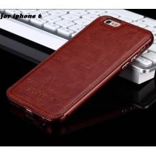 Алюминиевый бампер + кожаная накладка для iPhone 6/6S