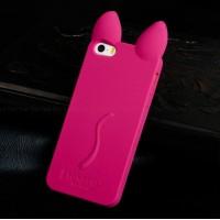 """Силиконовый чехол для iPhone 5/5S """"Кошачьи ушки"""" (розовый)"""