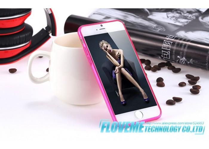 Полупрозрачный чехол для iРhone 6/6S (насыщенный розовый)