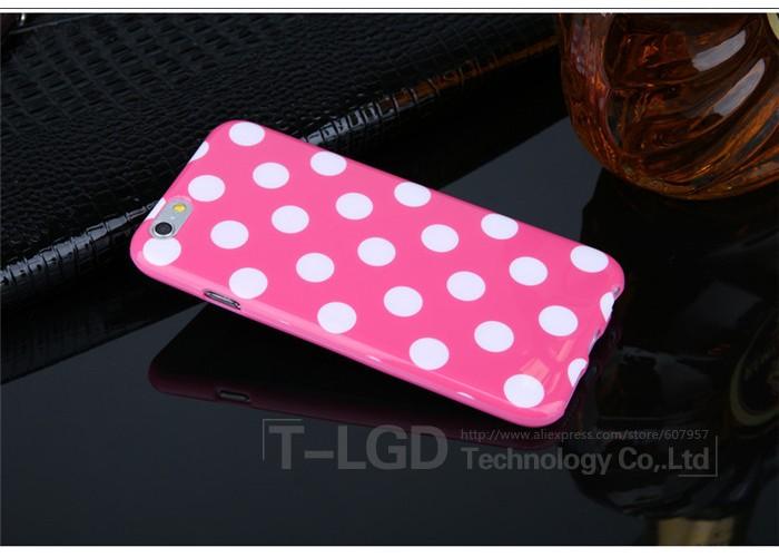 Чехол для iPhone 6/6S (розовый с белыми крапинками)