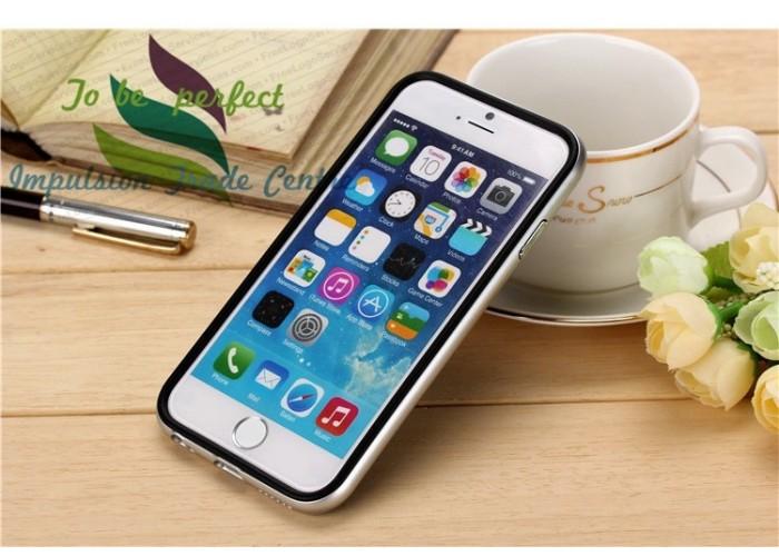 Серебристый бампер с черными накладками для iPhone 6 PLUS/ 6S PLUS