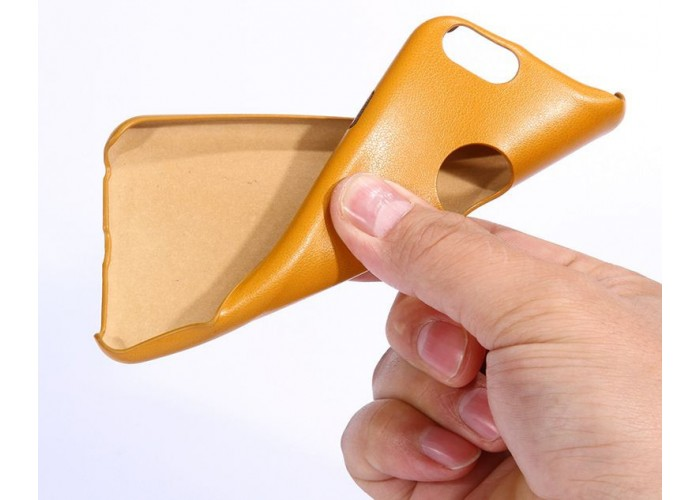 Ультратонкий силиконовый чехол с кожаной текстурой (желтый)