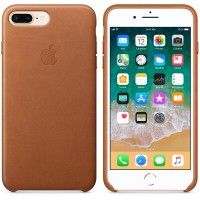 Кожаный чехол Apple Leather Case Saddle Brown с металлическими кнопками для iPhone 7 Plus/ 8 Plus (копия)