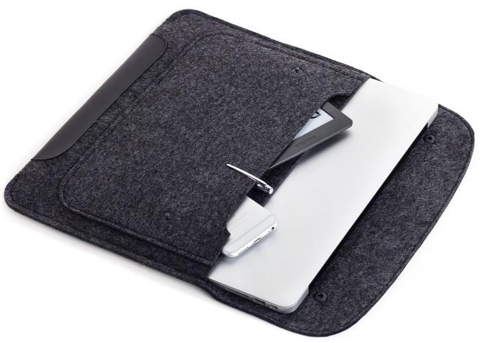 Черный чехол-конверт на кнопках для MacBook Air 13,3 и Pro 13,3 (GM01)