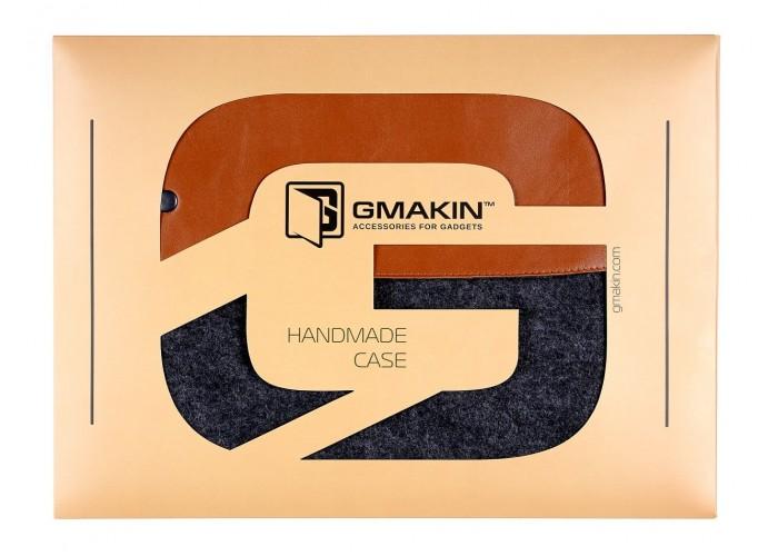 Коричневый чехол-конверт для Macbook  Air 13,3 и Pro 13,3 с элементами кожи (GM03)
