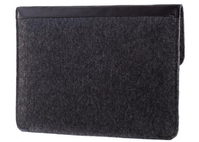 Черный чехол-конверт для MacBook  Air 13,3 и Pro 13,3 с элементами кожи (GM04)