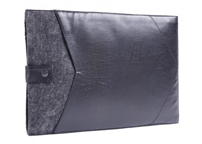 Фетровый чехол-конверт с кнопкой для  MacBook Air 13,3 и Pro 13,3 с эко-кожей (GM08)