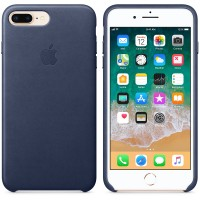 Кожаный чехол Apple Leather Case Midnight Blue с металлическими кнопками для iPhone 7 Plus/ 8 Plus (копия)