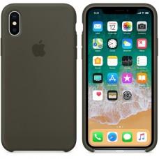 Силиконовый чехол Apple Silicone Case Dark Brown (темно-коричневый) для iPhone X /10 (копия)