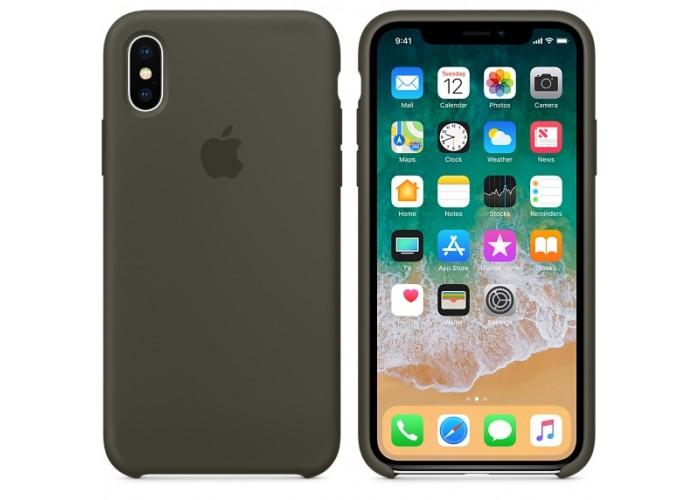 Силиконовый чехол Apple Silicone Case Dark Brown (темно-коричневый) для iPhone X /10 Xs/10s(копия)