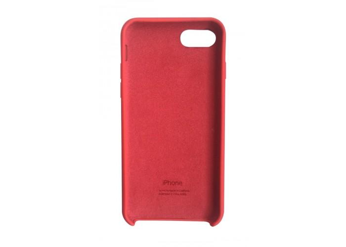 Силиконовый чехол Apple Silicon Case Red (Красный) белое яблоко для iPhone 7/8 (копия)