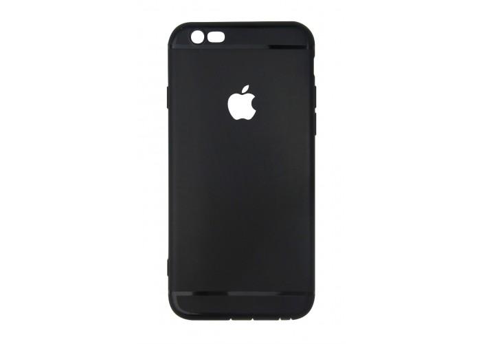 Ультратонкий чехол-накладка для iPhone 6 с вырезом под яблоко (Черный)