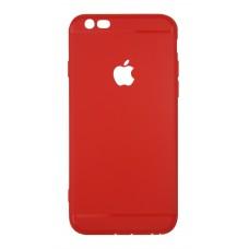 Ультратонкий чехол-накладка для iPhone 6 с вырезом под яблоко (Красный)