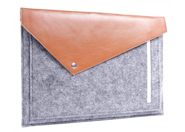 Коричневый фетровый чехол-конверт для  Macbook Air 13,3 и Pro 13,3 с экокожей (GM12)