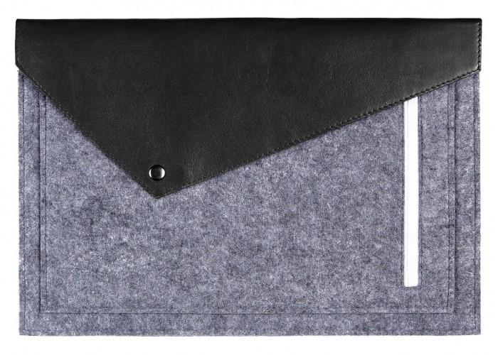 Черный фетровый чехол-конверт для  Macbook Air 13,3 и Pro 13,3 с экокожей (GM13)