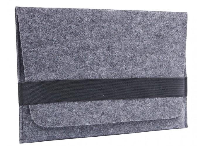 Темный войлочный чехол-конверт для  Macbook Air 13,3 и Pro 13,3 горизонтальный (GM14)