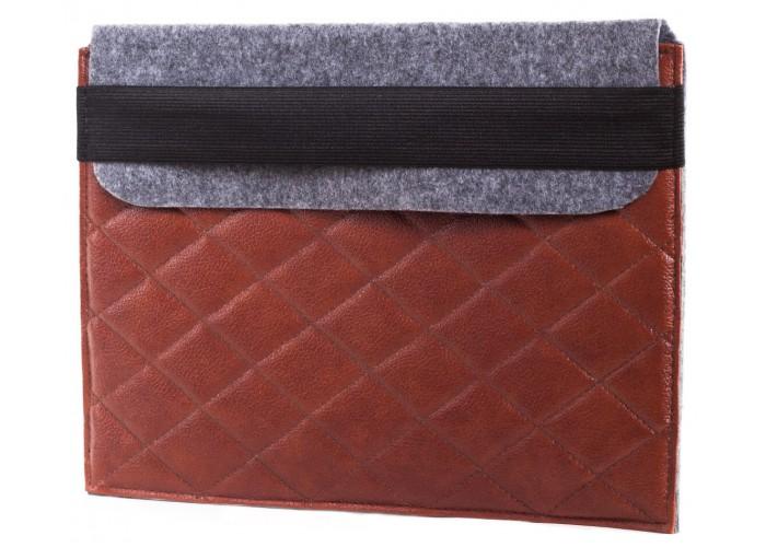 Коричневый чехол-конверт для Macbook  Air 13,3 и Pro 13,3 фетр c резинкой (GM19)