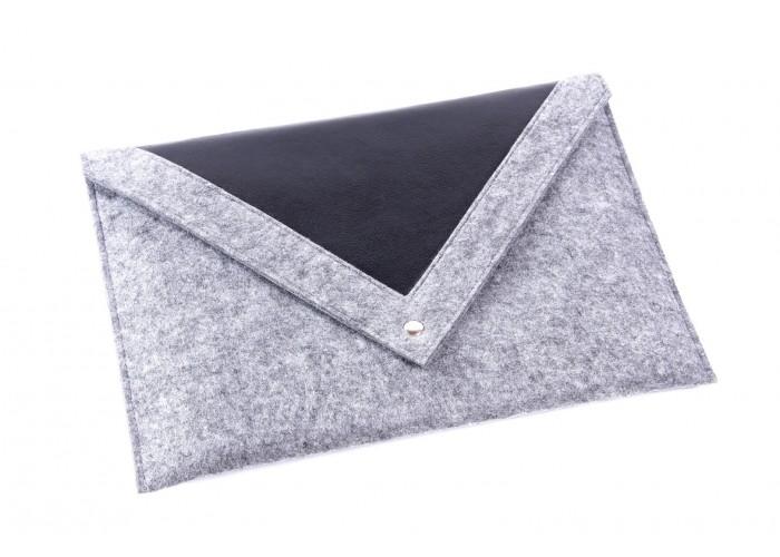 Серый чехол-конверт для Macbook Air  13,3 и Pro 13,3 с треугольной крышкой (GM24)