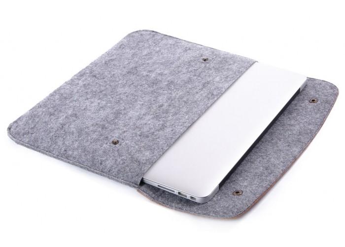 Коричневый чехол-конверт для Macbook  Air 13,3 и Pro 13,3 с элементами кожи (GM46)