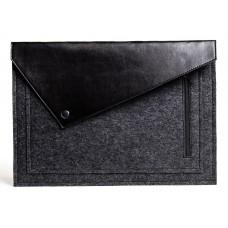 Черный фетровый чехол-конверт для  Macbook Air 13,3 и Pro 13,3 с экокожей (GM57)