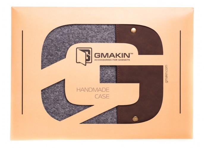 Вертикальный чехол для Macbook Air 13,3  и Pro 13,3 коричневый с серым (GM63)