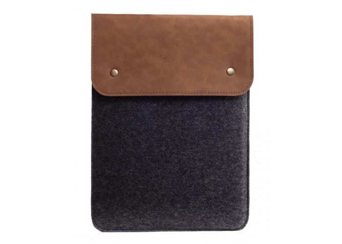 Вертикальный чехол для Macbook Air 13,3  и Pro 13,3 коричневый с черным (GM64)