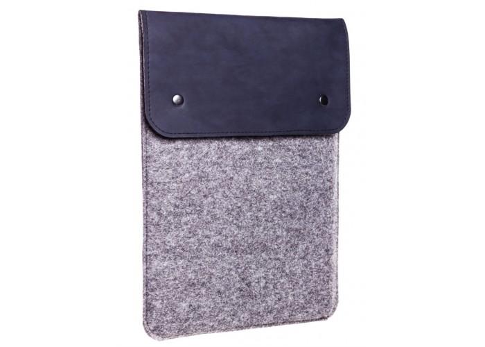 Вертикальный чехол для Macbook Air 13,3  и Pro 13,3 синий с серым (GM65)
