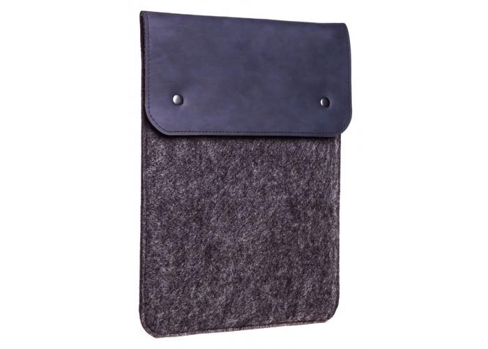Вертикальный чехол для Macbook Air 13,3  и Pro 13,3 синий с черным (GM66)