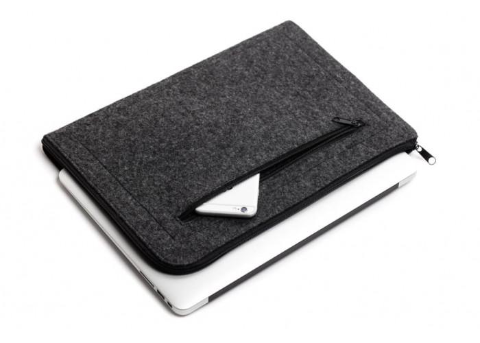 Темный горизонтальный чехол на молнии  для Macbook Air 13,3 и Pro 13,3 (GM68)