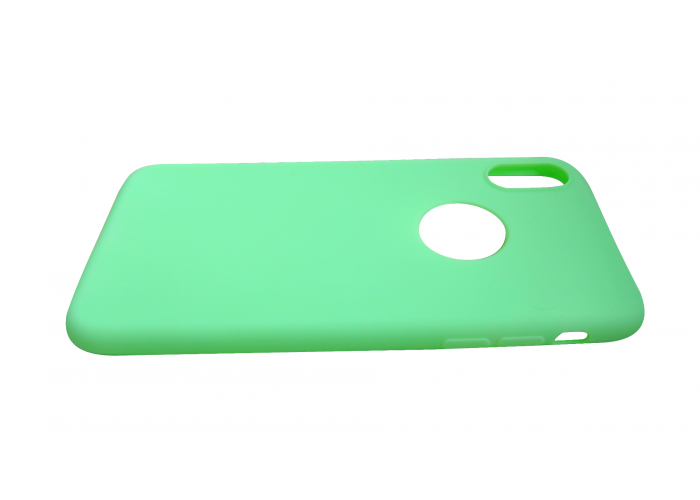 Силиконовый чехол на iPhone X/10 с вырезом под яблоко (Зеленый)