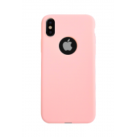 Силиконовый чехол на iPhone X/10 с вырезом под яблоко (Розовый)